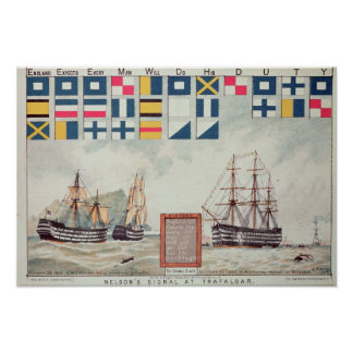Het signaal van Nelson in Trafalgar Poster