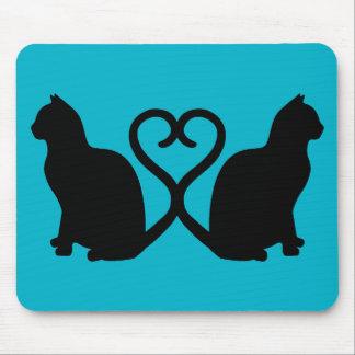 Het Silhouet Mousepad van het Hart van twee Katten Muismat
