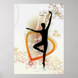 Het silhouet van de ballerina met bloemen abstract poster