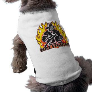 Het Silhouet van de brandbestrijder Mouwloos Hondenshirt