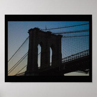 Het Silhouet van de Brug van Brooklyn Poster