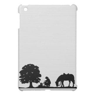 Het Silhouet van de cowboy & van het Paard iPad Mini Covers
