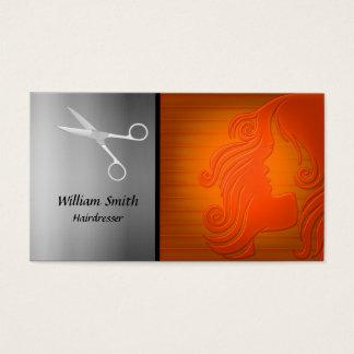 Het silhouet van de het haarvrouw van de kapper visitekaartjes