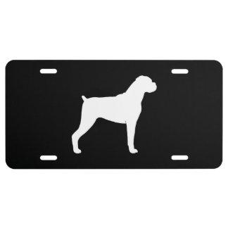 Het Silhouet van de Hond van de bokser Nummerplaat
