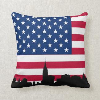 Het Silhouet van de Horizon NYC, Amerikaanse Vlag Sierkussen