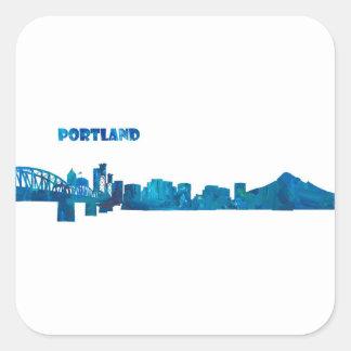 Het Silhouet van de Horizon van Portland Vierkante Sticker