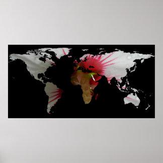 Het Silhouet van de Kaart van de wereld - de Bloem Poster