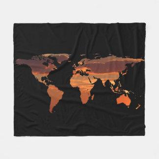 Het Silhouet van de Kaart van de wereld - Fleece Deken