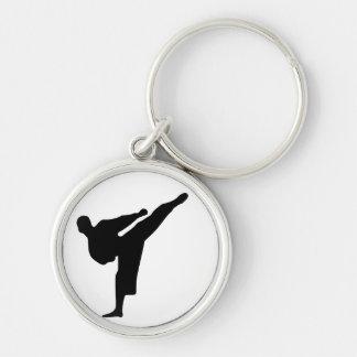Het Silhouet van de karate/van de Schop Taekwondo Sleutelhanger