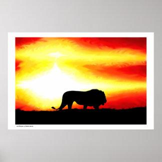 Het Silhouet van de leeuw Poster