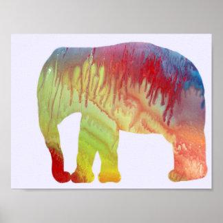 Het Silhouet van de olifant Poster