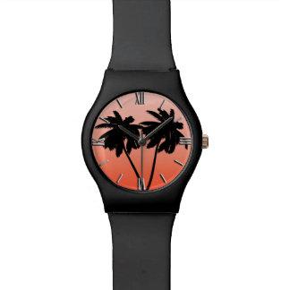 Het Silhouet van de palm op het Sinaasappel van de Polshorloge
