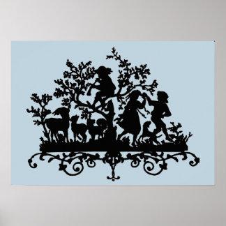 Het Silhouet van de Partij van de tuin op Blauw Poster