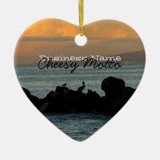Het Silhouet van de pelikaan; Promotie Keramisch Hart Ornament