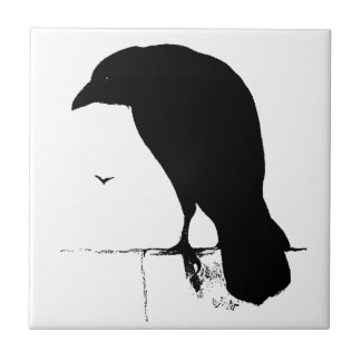 Het Silhouet van de raaf - de Vintage Raven & de Tegeltje Vierkant Small