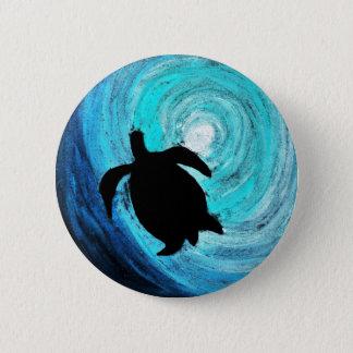 Het Silhouet van de Schildpad van het zee (Kunst Ronde Button 5,7 Cm