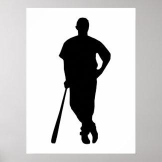 Het Silhouet van de Speler van het honkbal Poster