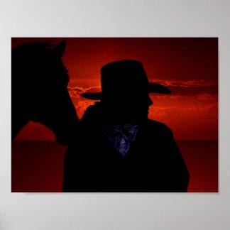 Het Silhouet van de veedrijfster en van het Paard Poster