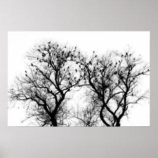 Het silhouet van de vogel en van de boom poster