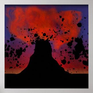 Het Silhouet van de vulkaan Poster