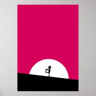 Het Silhouet van de zombie met Volle maan Poster