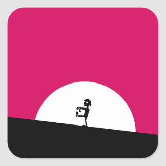 Het Silhouet van de zombie met Volle maan Vierkante Sticker