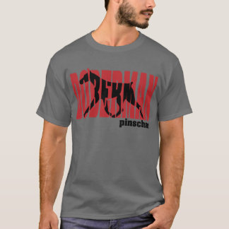 Het Silhouet van Doberman, het bewegen zich T Shirt
