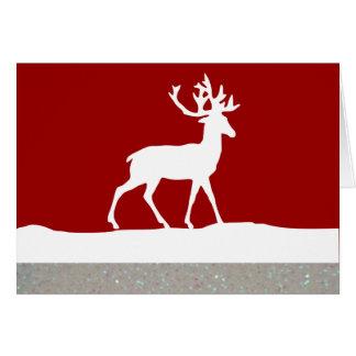 Het Silhouet van herten - Rood en Wit Briefkaarten 0