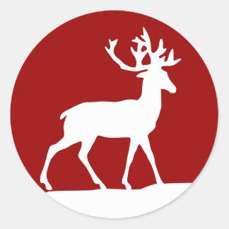 Het Silhouet van herten - Rood en Wit Ronde Sticker