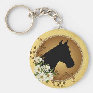 Het Silhouet van het Hoofd van het paard Basic Ronde Button Sleutelhanger