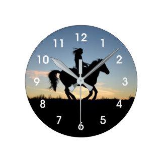 Het Silhouet van het paard en van de Ruiter Ronde Klok