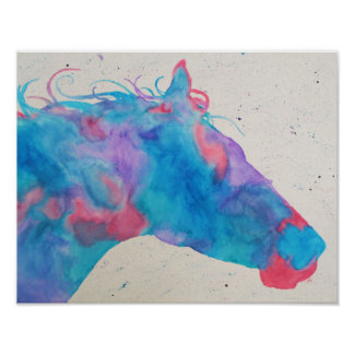 Het Silhouet van het Paard van de waterverf Poster