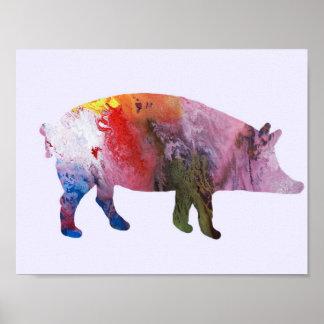 Het silhouet van het varken poster