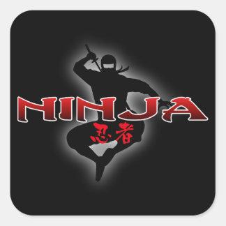 Het Silhouet van Ninja Vierkante Sticker