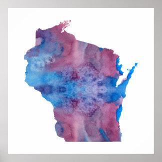 Het silhouet van Wisconsin Poster