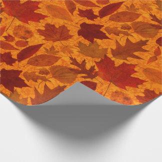 Het Sinaasappel van de Bladeren van de herfst Cadeaupapier