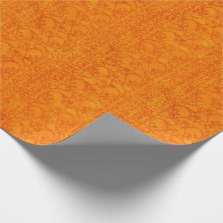 Het Sinaasappel van het Damast van de herfst Inpakpapier