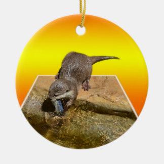 Het Sinaasappel van Otterly, Rond Keramisch Ornament