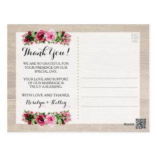 Het sjofele Rustieke Huwelijk van Vintage Rozen Briefkaart