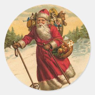 Het ski?en de sticker van Kerstmis van de Kerstman