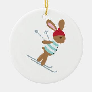 Het ski?en Konijntje Rond Keramisch Ornament