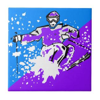 Het Ski?en van het pop-art de Paarse Blauwe Diagon Tegeltje