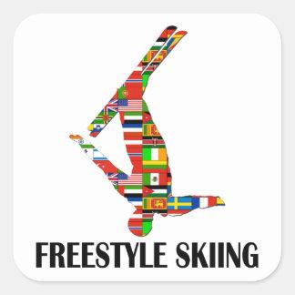 Het Ski?en van het vrije slag Vierkant Stickers