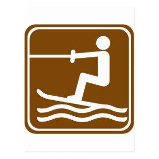 Het Ski?en van het water het Teken van de Weg Briefkaart