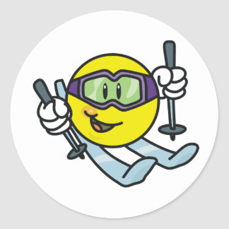 Het Ski?en van Smiley Ronde Sticker