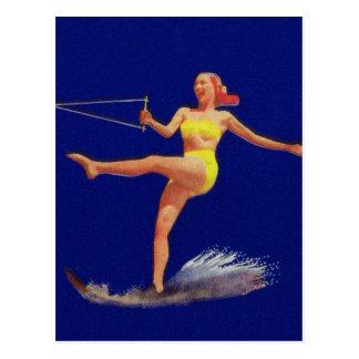 Het Ski?ende Meisje van het vintage Water Pinup Briefkaart