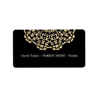 Het slaan Gouden Zwarte Gepersonaliseerd Elegant Etiket