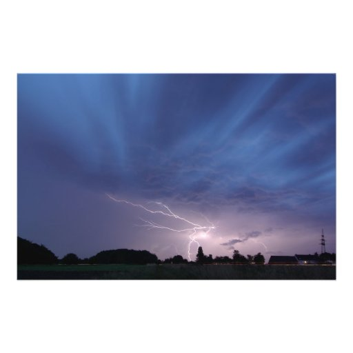 Het Slaan van de bliksem tijdens Onweersbui Fullcolor Folder