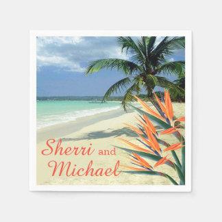 Het SMARAGDGROENE Huwelijk van het Strand van Papieren Servetten