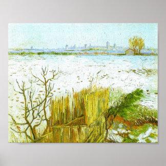 Het sneeuw Background Van Gogh Fine Art. van het Poster